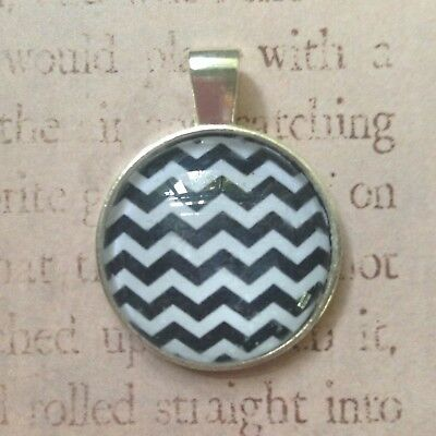 "Twin Peaks necklace pendant - 1"" diameter silver plated pendant - chevron - gift"