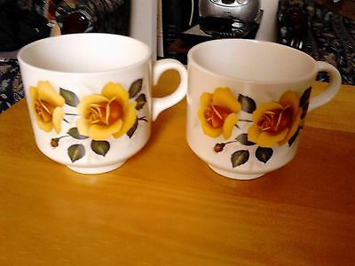 2 Vintage Cups, Marked Made in England, Decorated with Yellow Roses.
