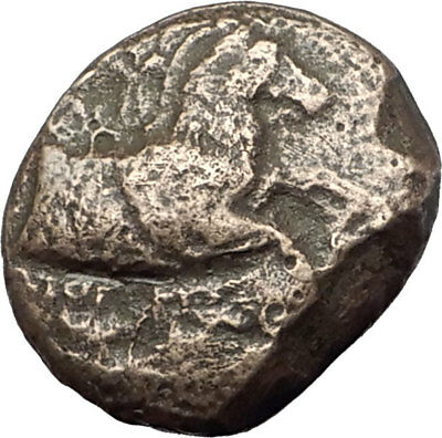 KYME in AEOLIS - Genuine 350BC Authentic Ancient Greek Coin  HORSE & VASE i64365