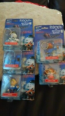 Lot of 5 RUDOLPH Misfit Toys Keychain Figures 1999 Playing Mantis Free Ship