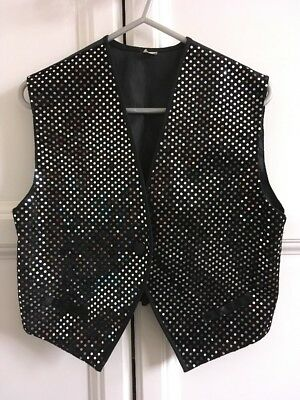 Vintage Black Sparkly Waistcoat Size Small