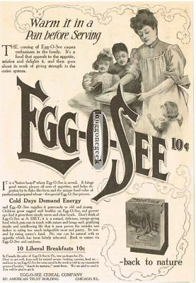 """1907 Egg-O-See Cereal """"Warm it in a pan"""" Vintage Print Ad"""