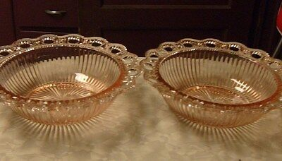 2 Vintage Pink Depression 9 1/2' Glass Bowls Old Colony Open Lace Ribbed Design
