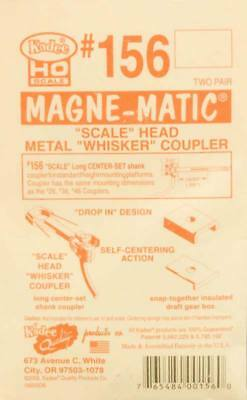 "NEW Kadee HO Scale Magne-Matic Scale Head Metal Whisker Couplers 25/64"" (4) #156"