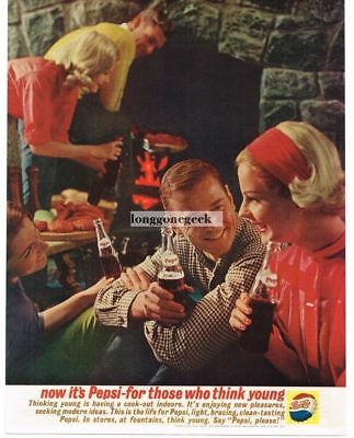1961 PEPSI-COLA Soda Indoor Cook-Out Vtg Print Ad