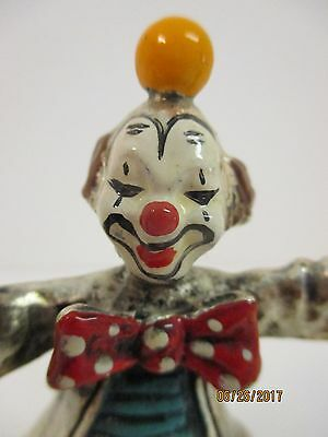 Vtg Brass Wolf Brand Juggling Clown Enamel Paint Highlights W 2 Extra Tiny Ones