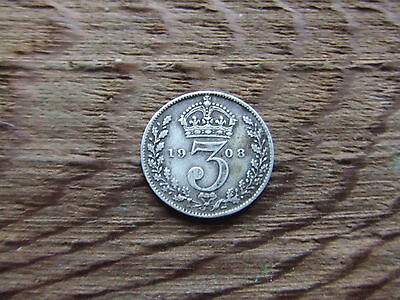 Edward Vii.  1908,  Silver Threepence.     Nice Condition.