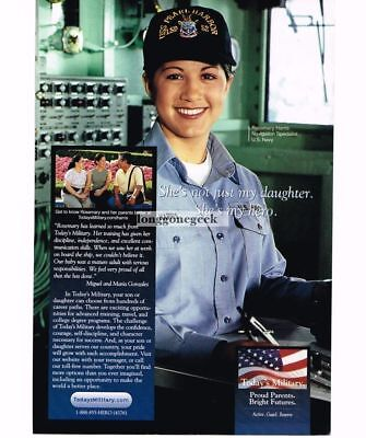 2001 US NAVY Recruiting Recruitment Vtg Print Ad Rosemary Harris Navigation Spec