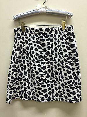 Vtg girl m 90s leopard Animal velour mini skirt Lord & Taylor soft black white