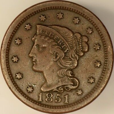 1851 Braided Hair Large Cent Fine