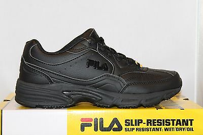 Mens Fila ON THE JOB SR Slip Resistant Non Skid Occupational Work Shoes Black