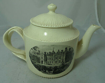 Antique Creamware Teapot Country House Scene Stamped CARTER A622017