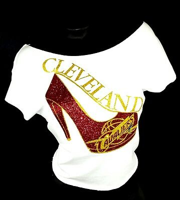 Cleveland Cavaliers with Sexy Pump on a White RawEdge Dolman ~ Shiny Lettering!