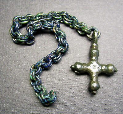 Ancient  Bronze Viking Chain Decoration. Amulet Pendant CROSS.