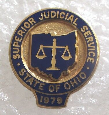 Vintage Superior Judicial Service Award Pin State of Ohio-1979 Gold-Filled