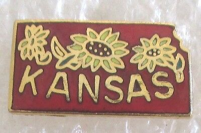 State of Kansas Travel Souvenir Collector Pin-Sunflowers