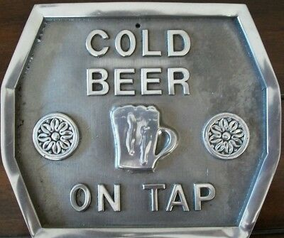 """Cold Beer On Tap"" Plaque / Sign Cast Aluminum"