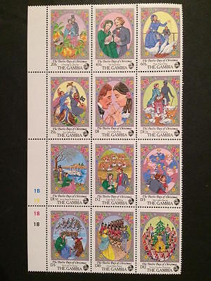 GAMBIA - 1987 - Twelve Days of Christmas - Full set of 12 - Part sheet - UMM