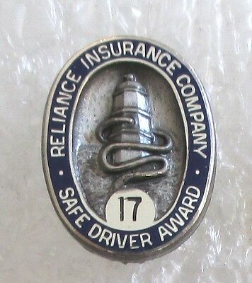 Vintage Reliance Insurance Company Safe Driver Award 17 Years Sterling Pin