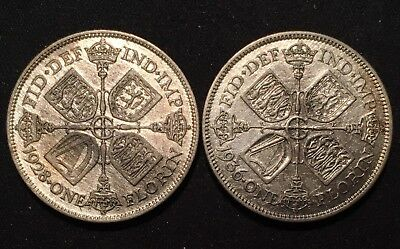 LOT of 2 - 1936 & 1928 Great Britain SILVER Florin / Two Shillings