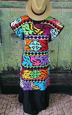 Multi-Color Striped Hand Embroidered Huipil Dress Jalapa Oaxaca Mexico Hippie