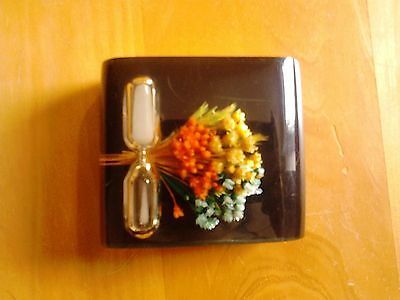 Vintage Black Lucite Egg Timer with Dried Flowers