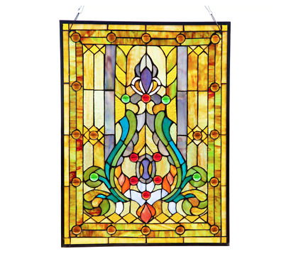 STAINED GLASS WINDOW Panel Tiffany Style Hanging Wall Art Home Decor ...