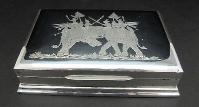 Vintage Sterling Silver Etched Cigarette Trinket Box Made in Siam
