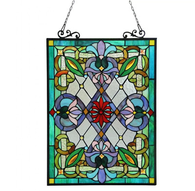 Stained Glass Window Panel Victorian Tiffany Style Hanging Wall Home Art Decor