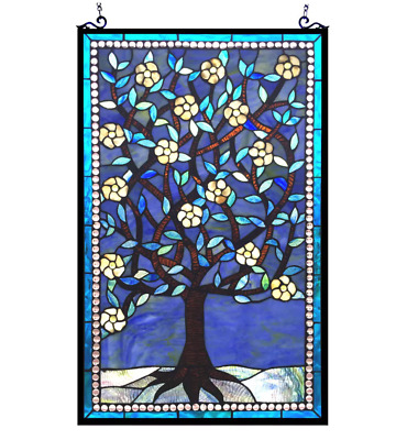 Stained Glass Window Panel Tiffany Style Tree of Life Hanging Wall Art Decor