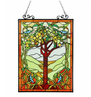"""Stained Glass Window Panel Tiffany Style Tree of Life Hanging Wall Art Decor 25"""""""