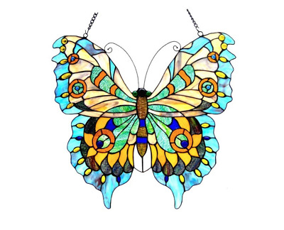 Stained Glass Butterfly Design Window Panel Tiffany Style Hanging Home Art Decor