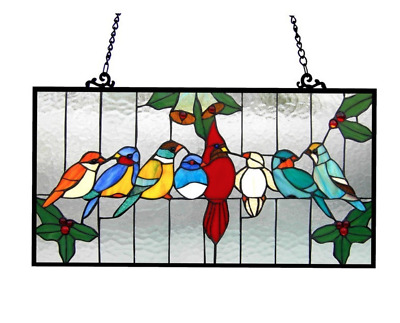 Stained Art Glass Window Panel Birds Tiffany Style Hanging Suncatcher Wall Decor