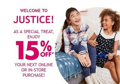 JUSTICE - 15% OFF entire purchase C0UP0N - EXP 10/29 **DELIVERED WITHIN 1 HOUR**