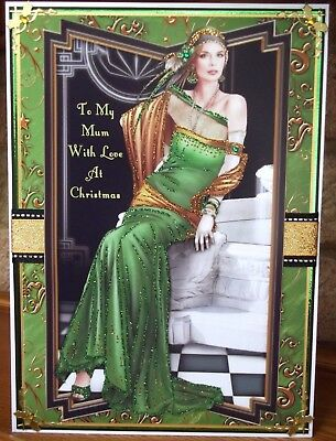 handmade art deco personalised mum christmas card with elegant lady in green