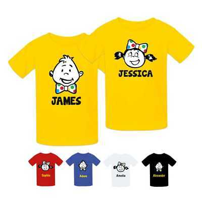 PERSONALISED BOW TIE TOP BOYS SCHOOL 10/%TO CHILDREN IN NEED T-SHIRT SPOTTED KIDS