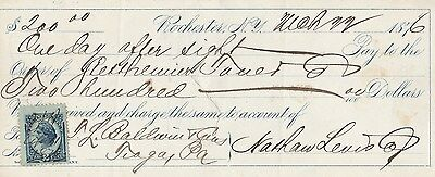 """Rochester, New York  1876   """"pay On Sight""""   W/revenue"""