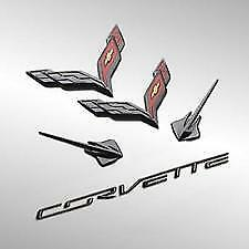 2014-2019 C7 Corvette Genuine GM Carbon Flash Black Emblem Kit 23465587