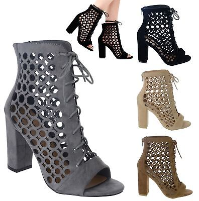 New Womens Ladies Block Mid High Heel Cut Out Lace Up Ankle Boots Shoes Size 3-8