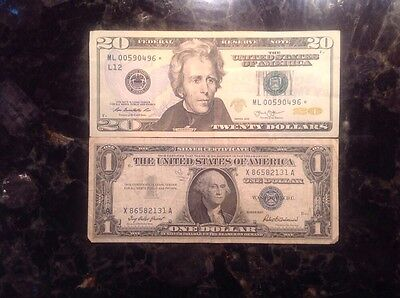 2013 $20 Federal Reserve Note - STAR NOTE  + 1957  $1 Silver Certificate
