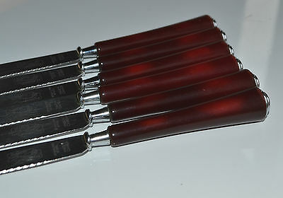 ART DECO LOT of 6 pcs Red Cherry Amber BAKELITE KNIVES STAINLESS Made in Canada