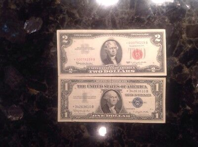1963 $2  USN - STAR NOTE - Red Seal + 1957 B $1 Silver Certificate - STAR NOTE