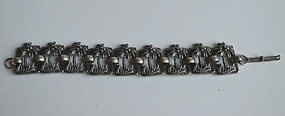 ART DECO Egyptian Revival LINK BRACELET 3D CUT THROUGH PALM DESIGN SILVERTONE