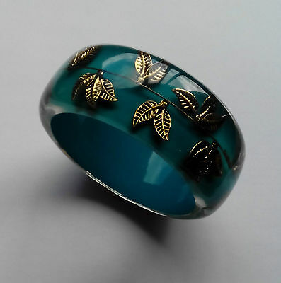 Vintage layered Runway Bangle Bracelet Turquoise & Clear Ice Plastic Gold Leafs