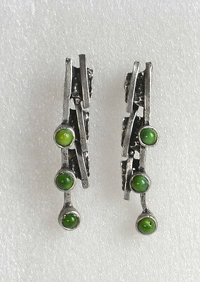 Vintage OOAK Designer MODERNIST ORGANIC pierced EARRINGS Silvertone Green Glass