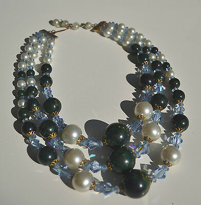 Art Deco Green End Of Day Bakelite Necklace 3 Strands Czech Crystal Faux Pearls