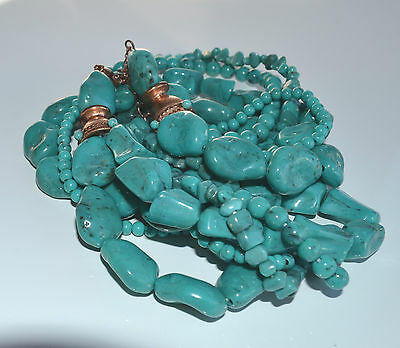 vintage nugget faux turquoise plastic resin 5 strand torsade necklace nice clasp
