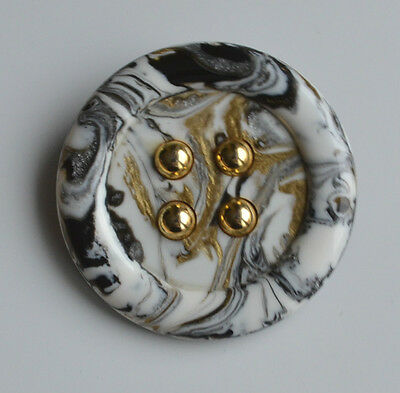 Vintage Huge Swirl End Of Day Resin Button Brooch Pin Black White Gold Italy