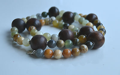 Vintage Wood & All Gemstones & Green & Mutton Fat Jade Beaded Necklace silver