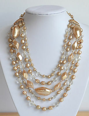 vintage 50's CHUNKY gold faux pearl crystal 5 STRANDS RUNWAY NECKLACE hand wired